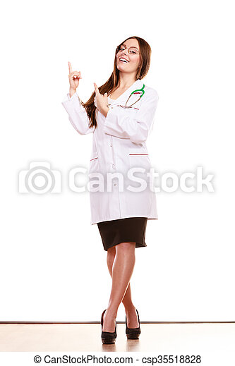 Woman doctor pointing copyspace. Health care. - csp35518828