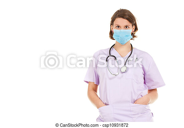 Woman doctor wearing mask  - csp10931872