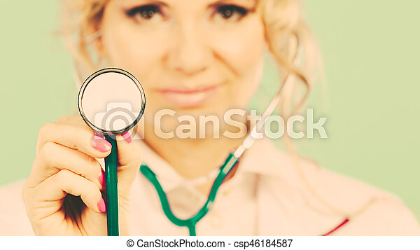 Woman doctor with stethoscope. - csp46184587