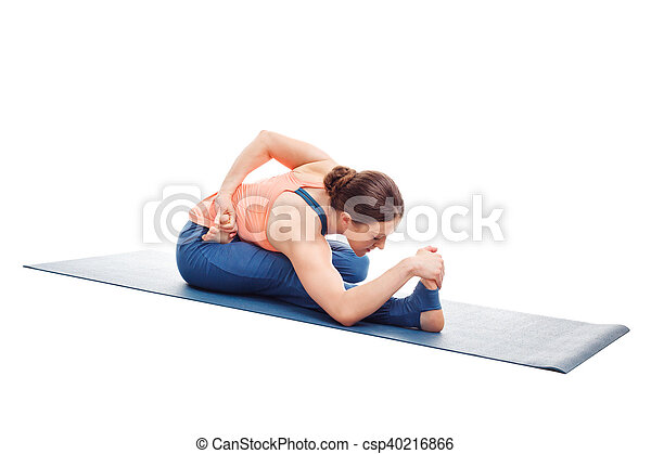 woman doing ashtanga vinyasa yoga asana ardha baddha padma