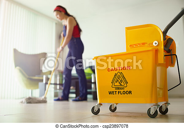 Woman Doing Chores Cleaning Floor At Home Focus on Bucket - csp23897078