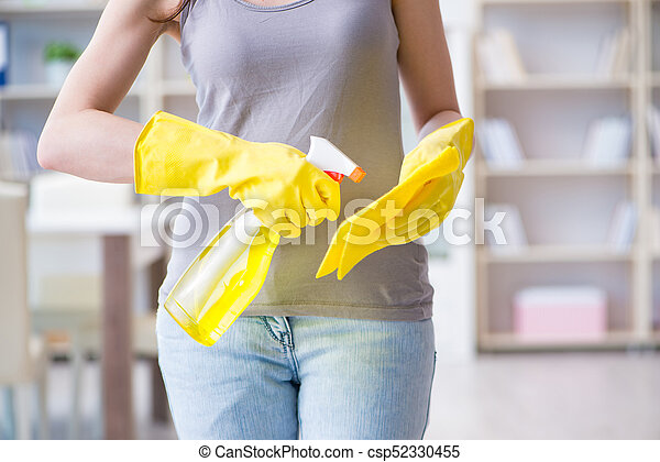 Woman doing cleaning at home - csp52330455