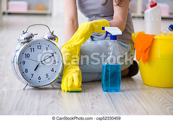 Woman doing cleaning at home - csp52330459