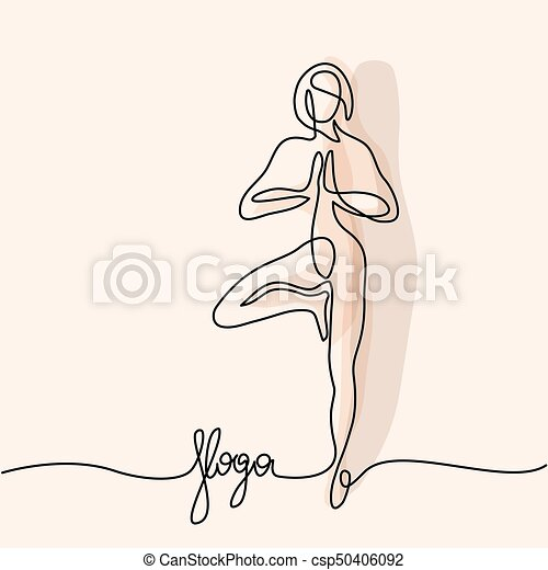 continuous line drawing woman doing exercise in yoga pose