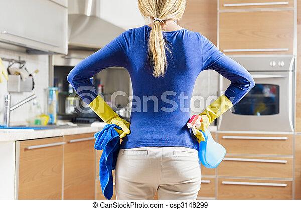 woman doing housekeeping - csp3148299
