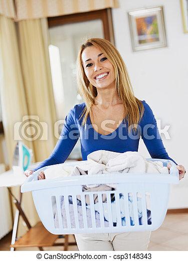 woman doing laundry - csp3148343