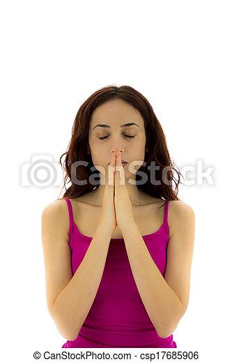 woman doing namaste pose in yoga vertical namaste pose