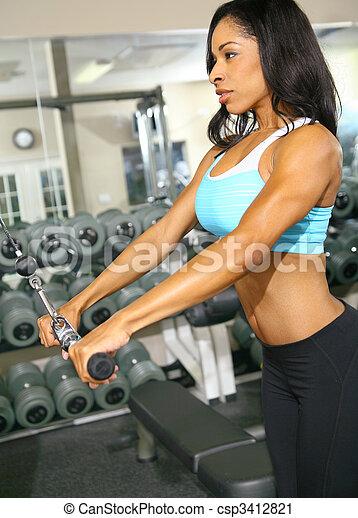 Woman Doing Pulling Bar - csp3412821