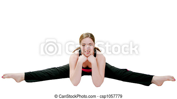 woman doing split young female doing a split and smiling