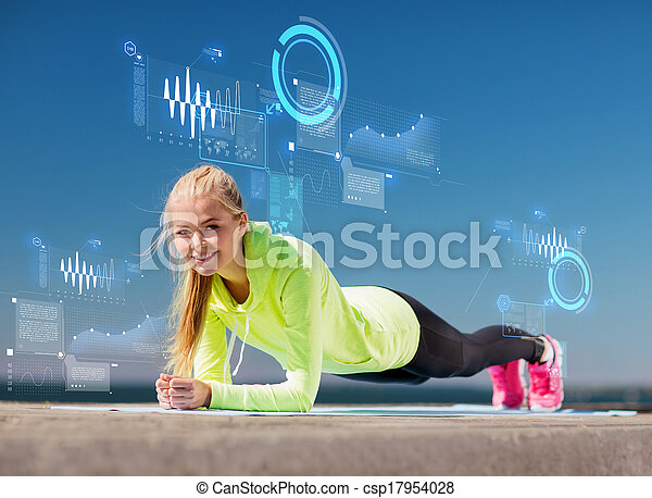 woman doing sports outdoors - csp17954028
