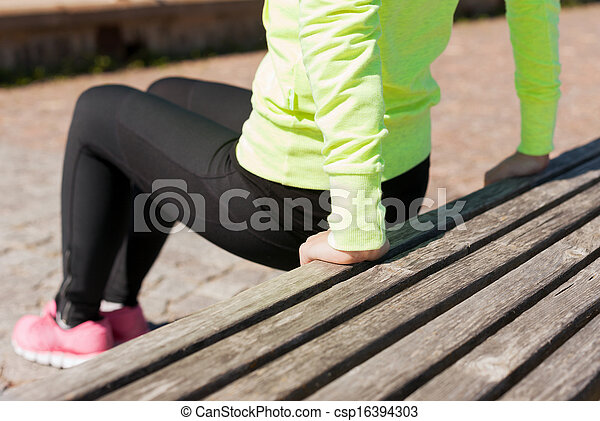 woman doing sports outdoors - csp16394303