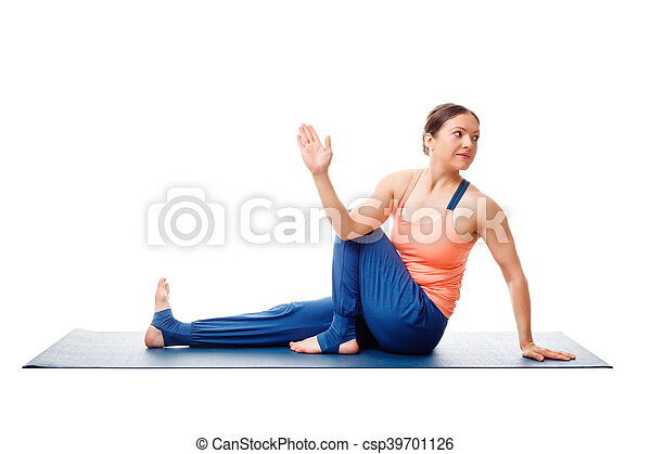 woman doing yoga asana ardha matsyendrasana isolated on