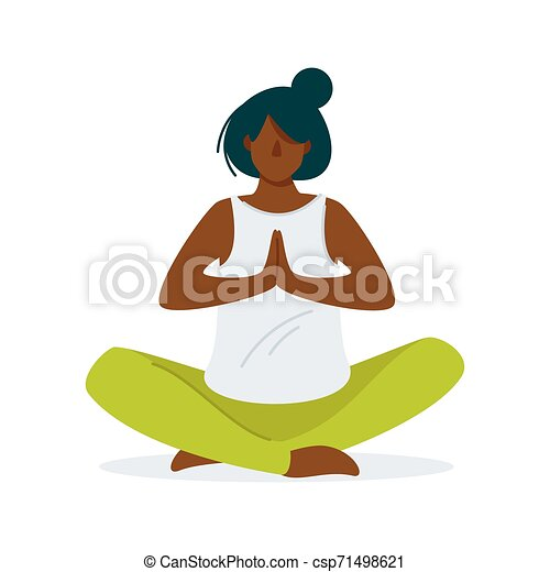 Woman Doing Yoga Cartoon Illustration Relaxation Meditation Flat Vector Concept Healthy Lifestyle Keeping Fit Mental