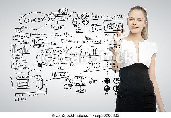 woman drawing business concept - csp30208303