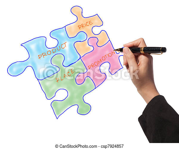 Woman drawing the marketing mix idea board of business process - csp7924857