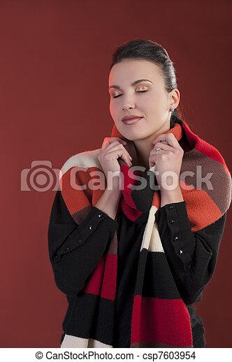 woman dreamin away in autumn dressup - csp7603954