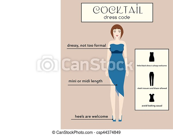 4a7f7974db Woman dress code infographic. Cocktail. Female in dressy blue midi dress -  csp44374849