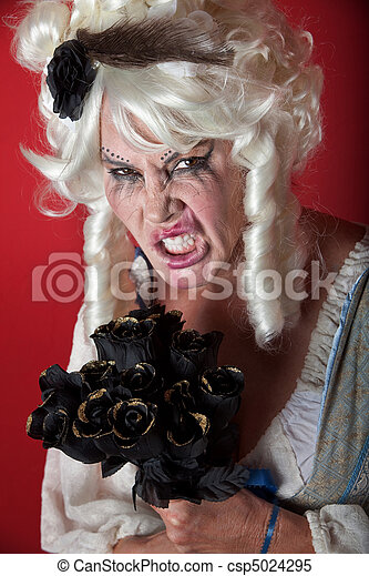Woman dressed as scary Marie Antoinette - csp5024295