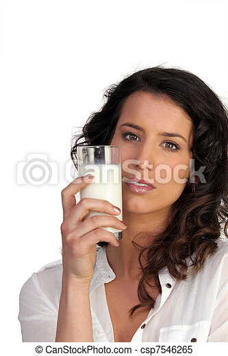 Woman drinking a glass of milk - csp7546265