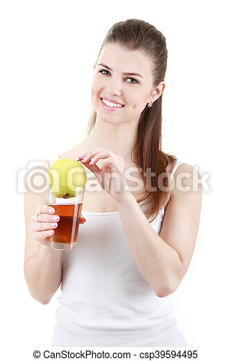 Woman drinking apples juice - csp39594495