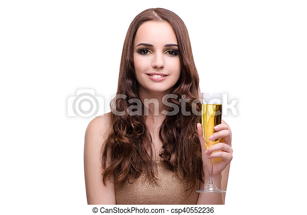 Woman drinking champagne isolated on white - csp40552236