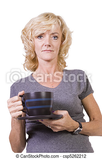 Woman Drinking Coffee Standing Up - csp5262212