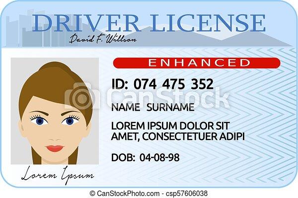 Woman driver license card, cartoon style - csp57606038
