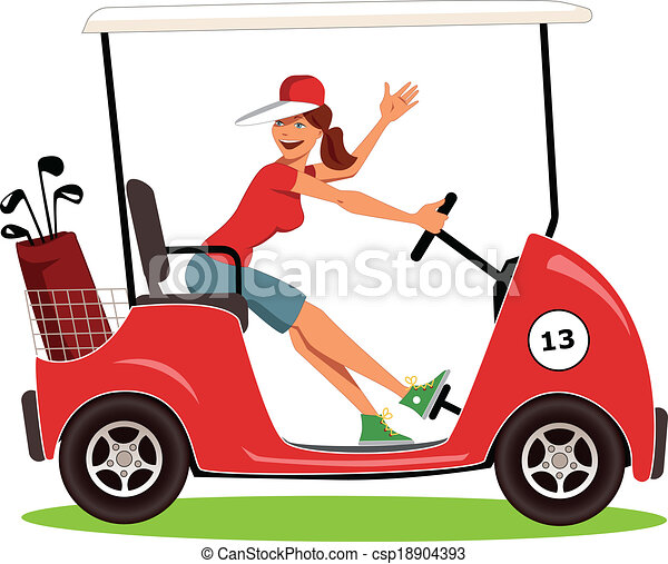 Woman Driving A Golf Cart Cartoon Female Golfer In A Cart Smiling And Waving Isolated On White Vector Illustration