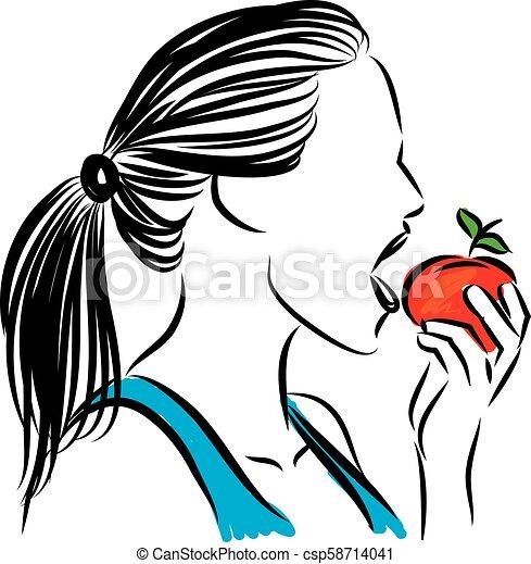 Woman Eating Apple Vector Illustration Eps