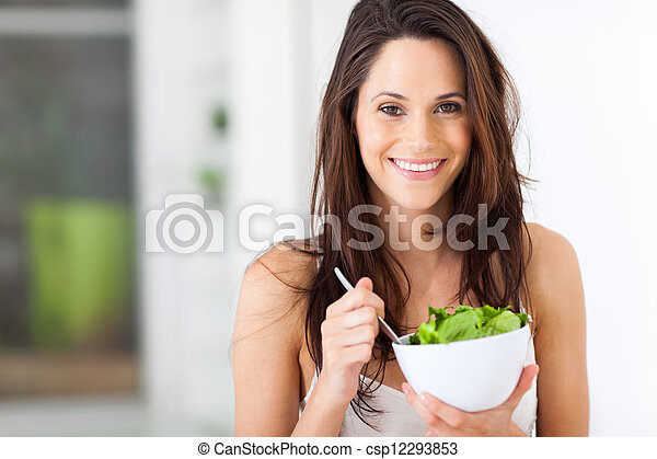 woman eating healthy salad  - csp12293853