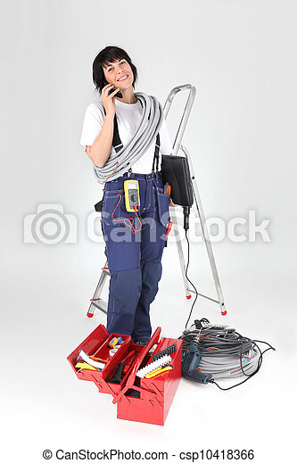 woman electrician with tools - csp10418366