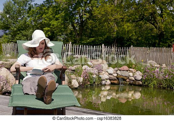 Woman With White Hat Lying On A Garden Lawn Of Wood In The Background, A  Pond With Beautiful Shore, Frau Mit Weissem Hut Liegt Auf Einer Gartenliege  Aus ...