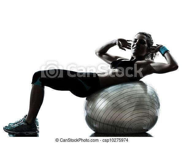 woman exercising fitness ball workout   - csp10275974