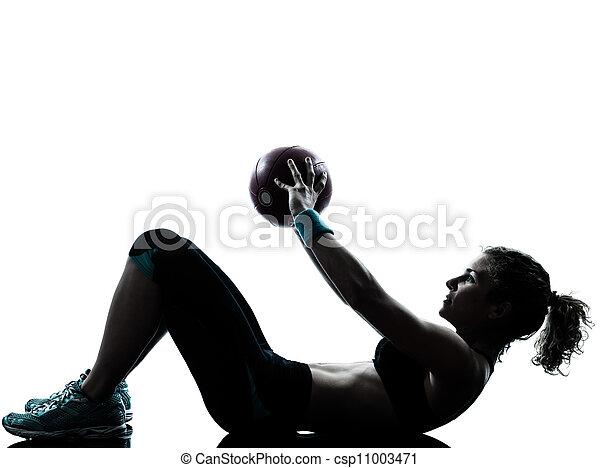 woman exercising fitness ball workout - csp11003471