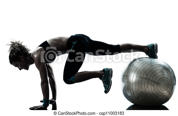 woman exercising fitness ball workout   - csp11003183