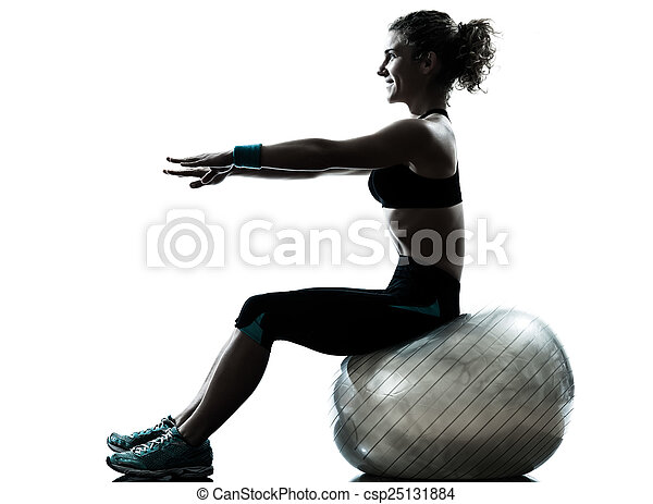 woman exercising fitness ball workout silhouette - csp25131884