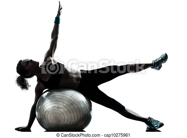 woman exercising fitness ball workout   - csp10275961