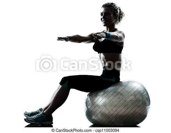 woman exercising fitness ball workout   - csp11003094