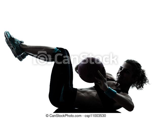 woman exercising fitness ball workout   - csp11003530