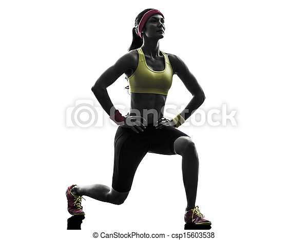 woman exercising fitness workout  lunges crouching silhouette - csp15603538
