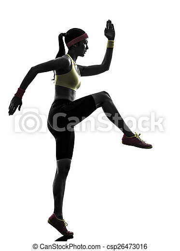 woman exercising fitness workout  silhouette - csp26473016