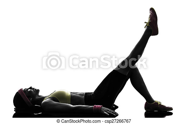 woman exercising fitness workout  silhouette - csp27266767
