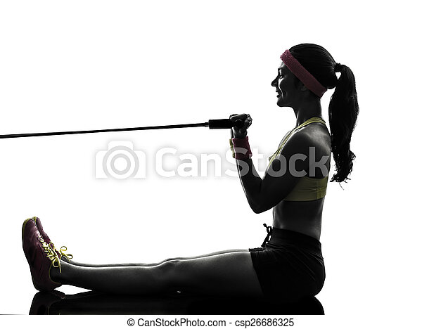 woman exercising fitness workout resistance bands silhouette - csp26686325