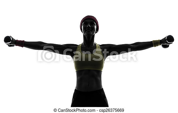woman exercising fitness workout weight training silhouette - csp26375669
