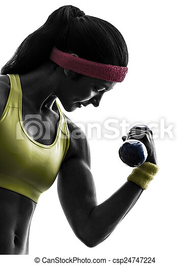 woman exercising fitness workout weight training silhouette - csp24747224