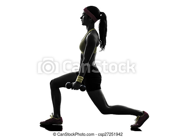 woman exercising fitness workout  weight training silhouette - csp27251942
