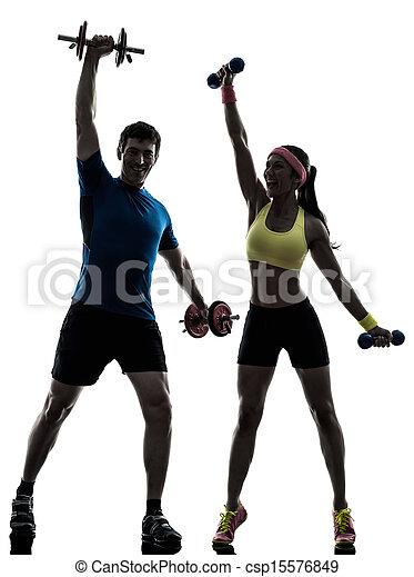 woman exercising fitness workout with man coach - csp15576849