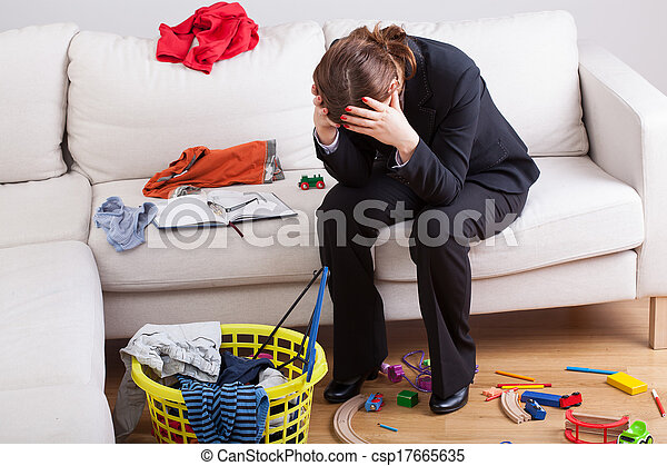 Woman exhausted her life - csp17665635
