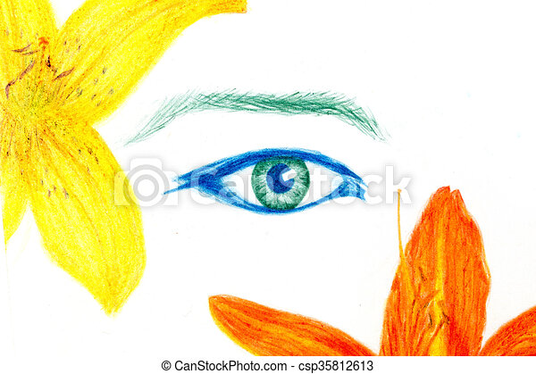 Woman Eyes With Flower Color Pencil Drawing Eye Contact