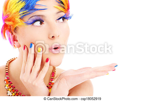 Woman face and color hairs - csp18052919